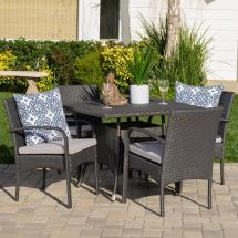 Noble House Lea Grey 5-piece Wicker Outdoor Dining Set