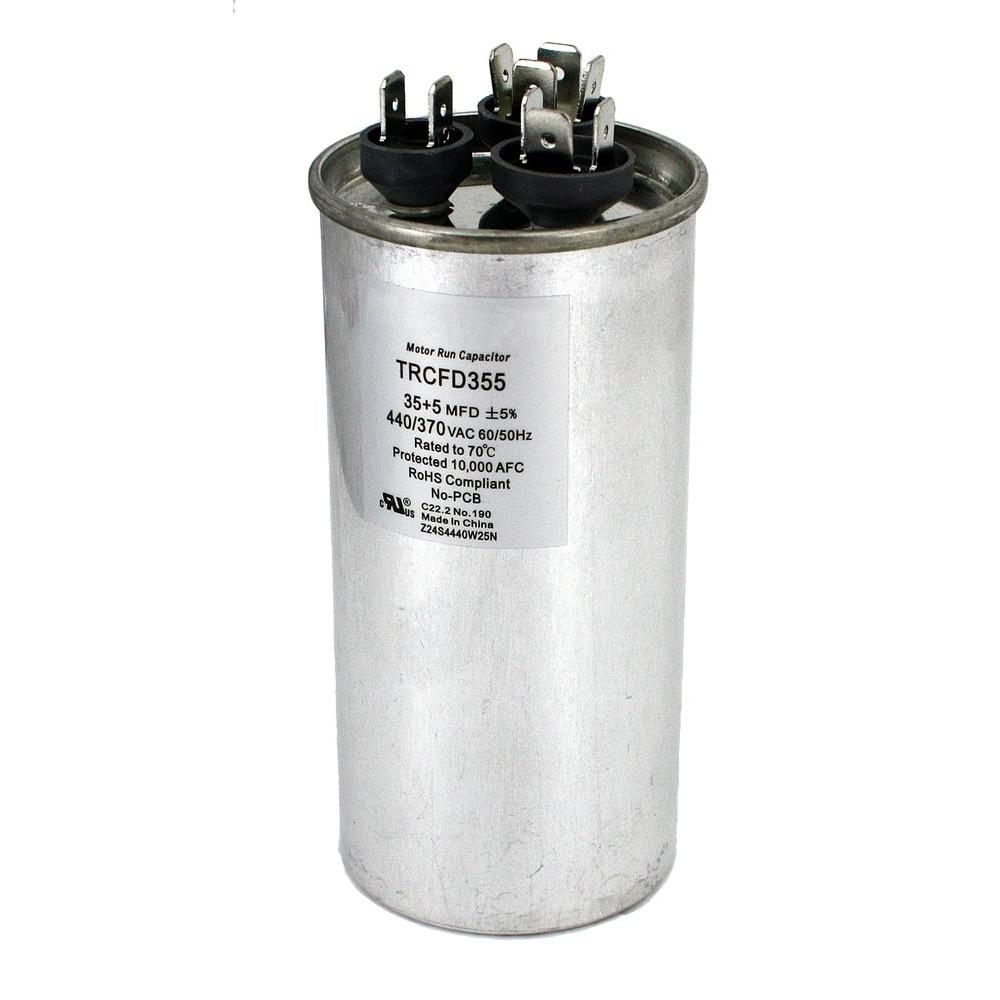 medium resolution of packard 440 volt 35 5 mfd dual rated motor run round capacitor trcfd355 the home depot