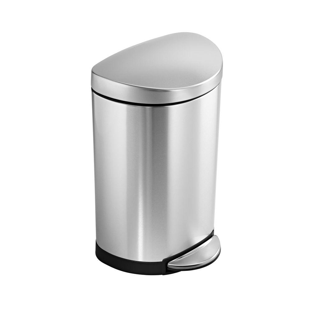 simplehuman kitchen trash can equipment rental 10 liter fingerprint proof brushed stainless steel semi round step on