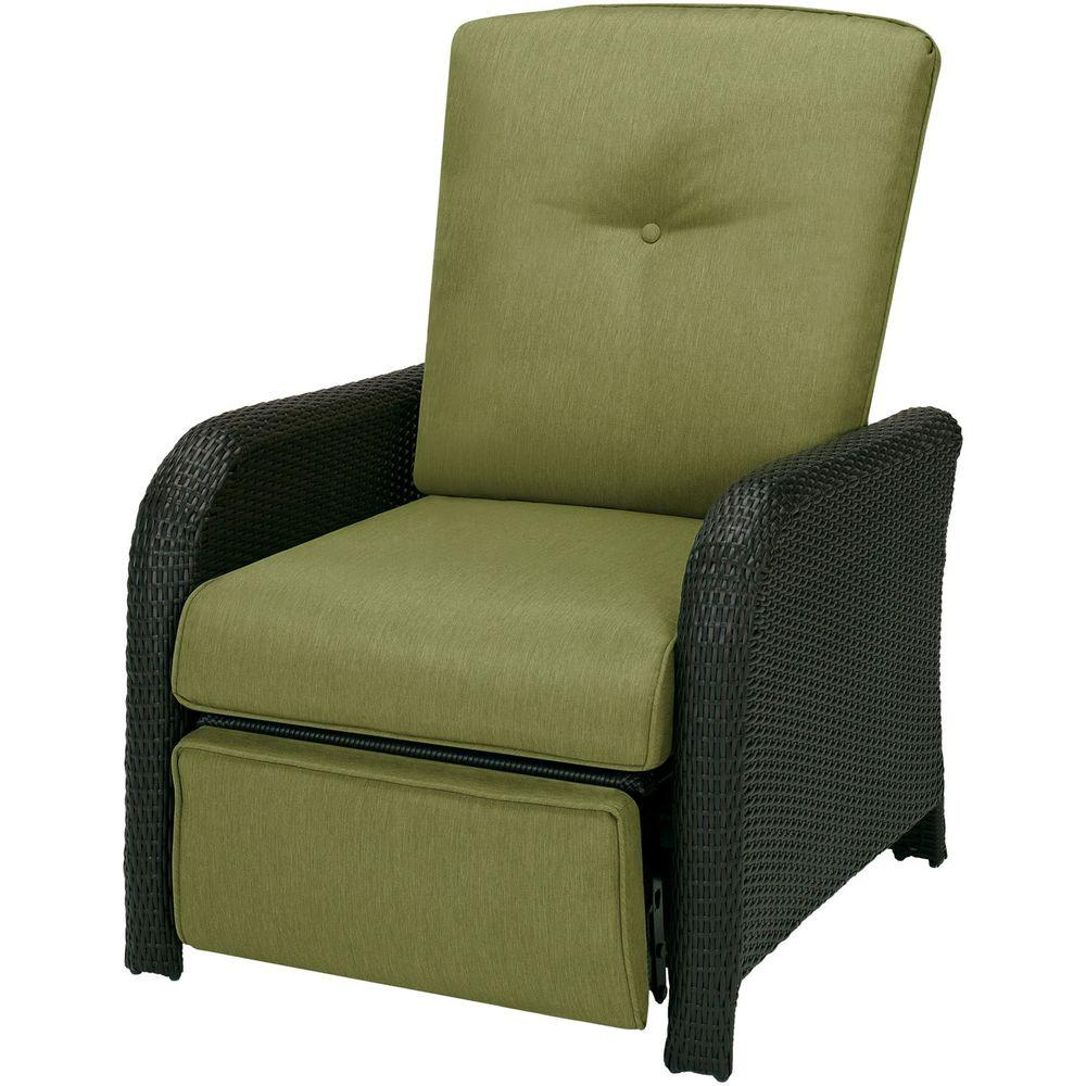 wicker reclining patio chair dining room covers high back hanover strathmere 1 piece outdoor lounge with cilantro green cushions