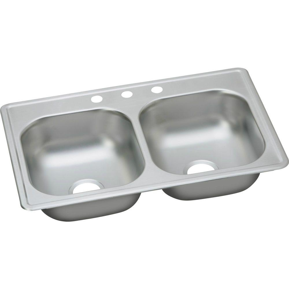 sink for kitchen carnage elkay dayton drop in stainless steel 33 3 hole double bowl with 6 5