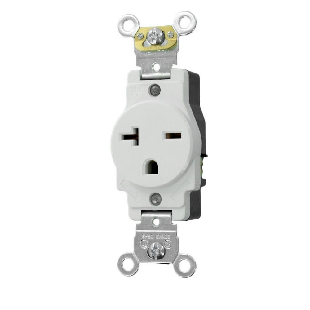 medium resolution of leviton 20 amp industrial grade heavy duty self grounding single outlet white