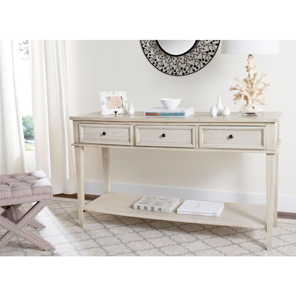 Safavieh Manelin White Washed Storage Console TableAMH6641B  The Home Depot