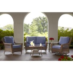 Spring Haven Brown All Weather Wicker Patio Sofa Showroom Toronto Hampton Bay 5 Piece Outdoor Seating Set With Sky Blue Cushions