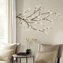 Images Of Living Room Wall Decor Asian Paints Colors For Decals The Home Depot 5 In X 19 White Blossom Branch With Embellishments 31 Piece Peel