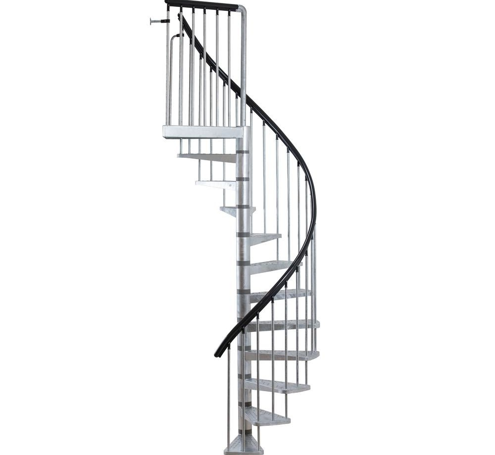 Dolle Toronto V3 9 Ft 3 In Galvanized Stair Kit 68254 The Home | 9 Foot Spiral Staircase | 36 Tall | Stair Kit | Modern Staircase | Dolle Toronto | Stair Parts