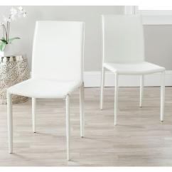 White Leather Chairs Dining Love Sack Chair Safavieh Karna Bonded Fox2009a Set2 The