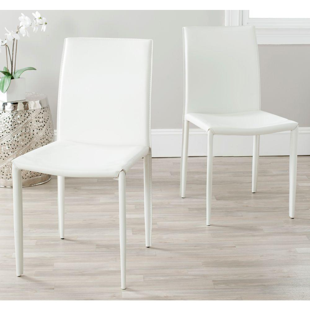 leather dining room chairs banquet chair covers for less than $1 safavieh karna white bonded fox2009a set2 the