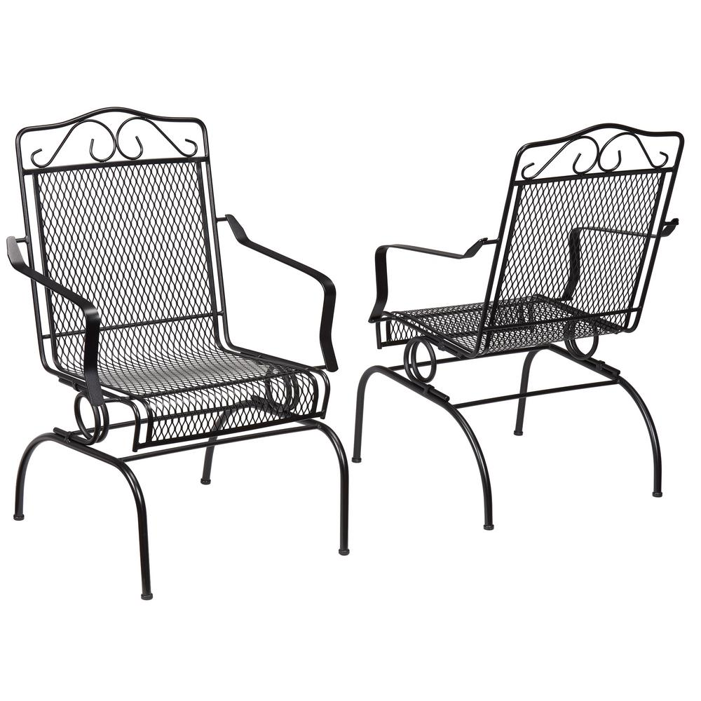 black metal patio chairs folding wholesale los angeles hampton bay nantucket rocking outdoor dining chair 2 pack