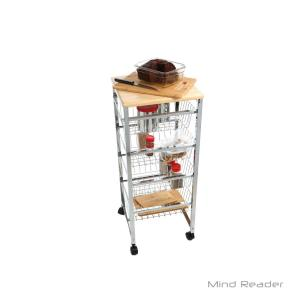 wire kitchen cart play kitchens for sale mind reader 4 tier silver basket utility with wood surface internet 304067918