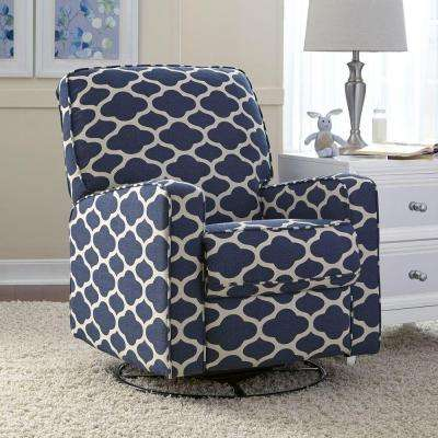 chairs that swivel and recline chair rail accessories recliners the home depot sutton blue white fabric recliner