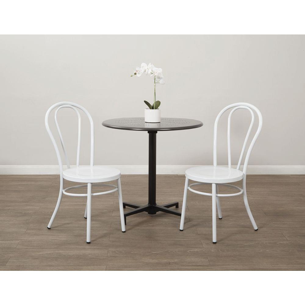 OSPdesigns Odessa Solid White Metal Dining Chair Set of 2