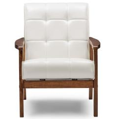 White Upholstered Chairs Wood Adirondack Home Depot Baxton Studio Masterpiece Mid Century Faux Leather Chair