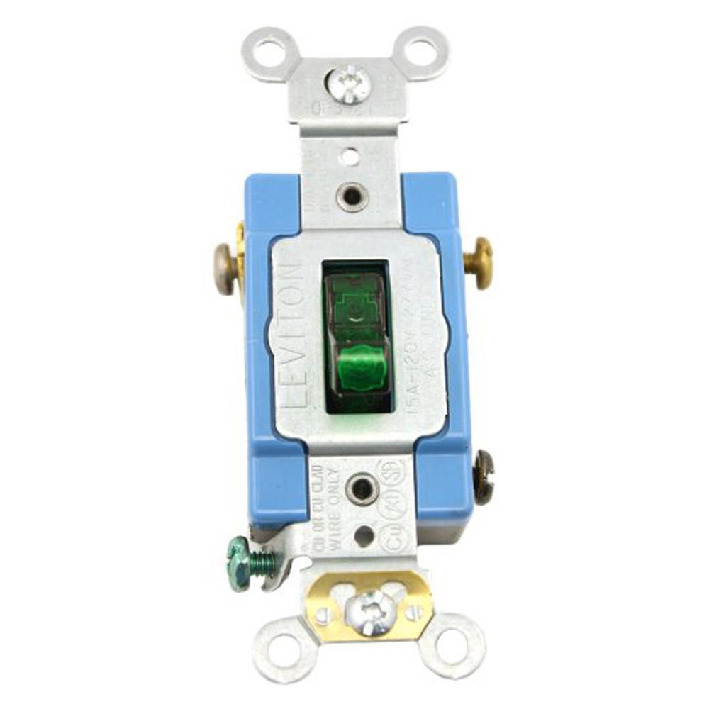 medium resolution of leviton 15 amp industrial grade heavy duty single pole pilot light toggle switch green