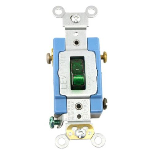 small resolution of leviton 15 amp industrial grade heavy duty single pole pilot light toggle switch green