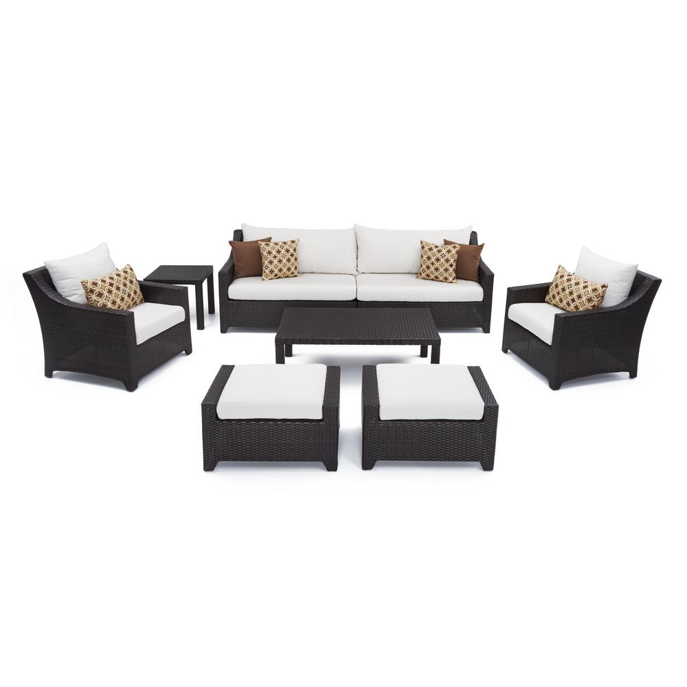 rst brands deco 8 piece all weather wicker patio sofa and club chair deep seating set with sunbrella moroccan cream cushions op pess7 mor k the home