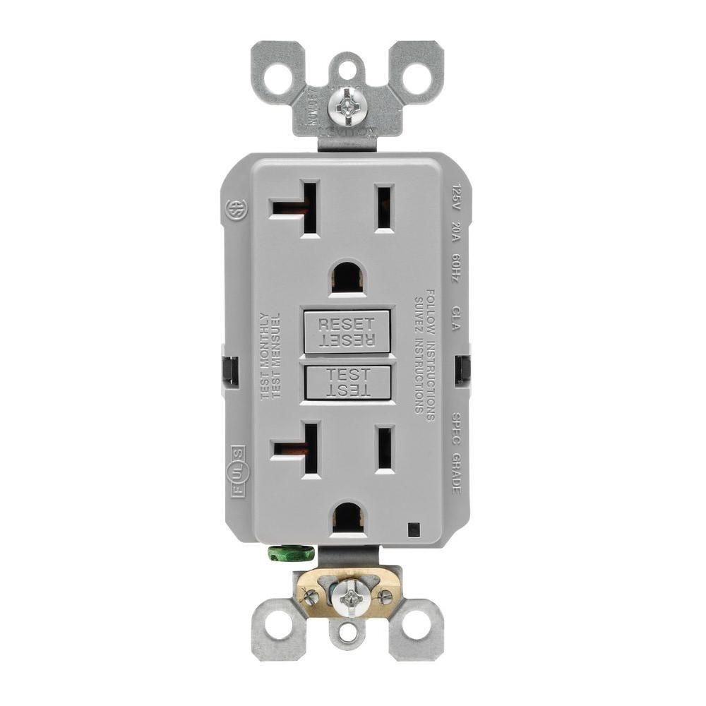 hight resolution of leviton 20 amp self test smartlockpro slim duplex gfci outlet gray