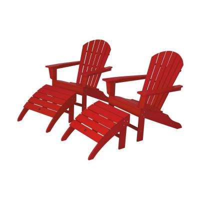 red adirondack chairs toddler high polywood patio the home depot south beach sunset plastic chair 2 pack