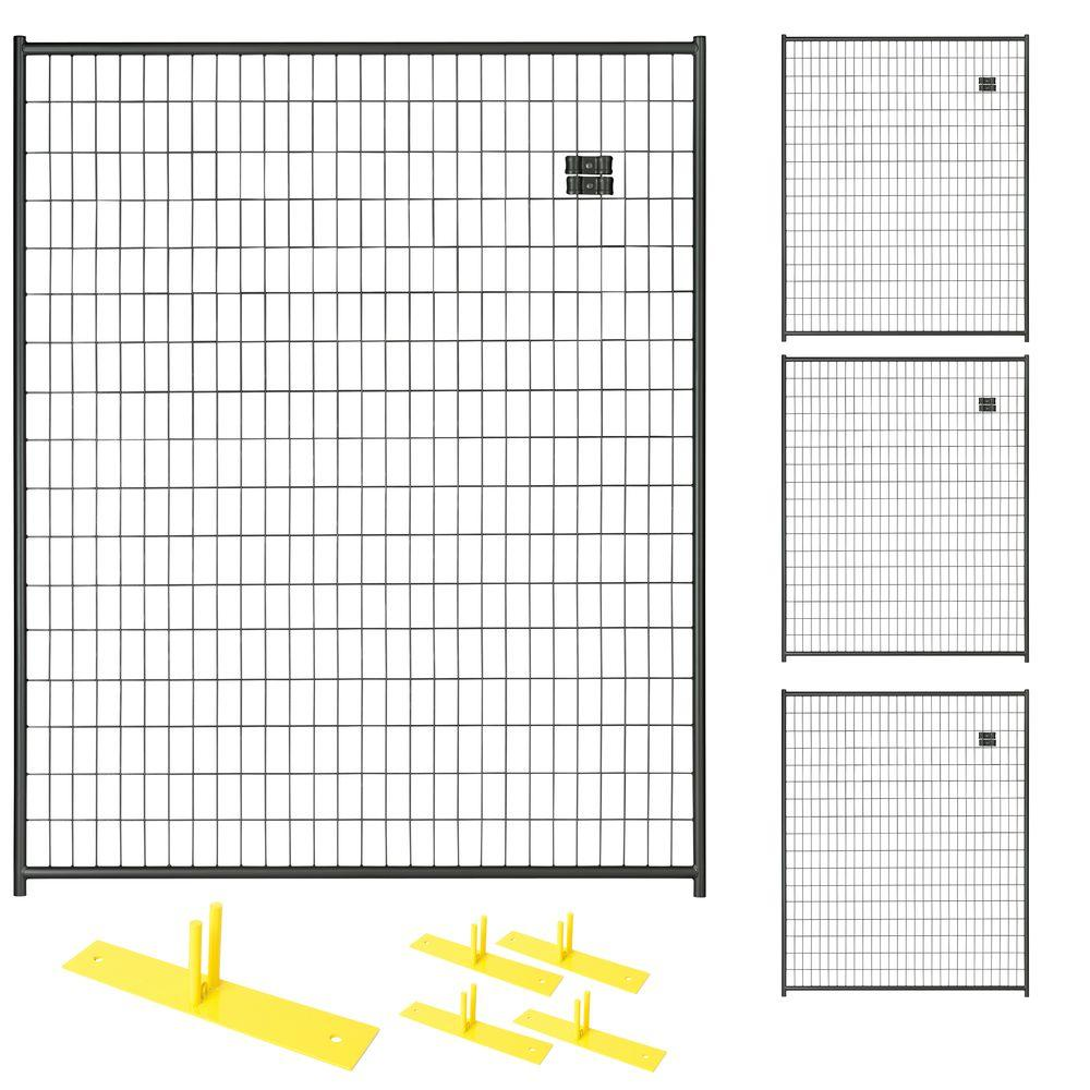 Perimeter Patrol 6 ft. x 20 ft. 4-Panel Black Powder