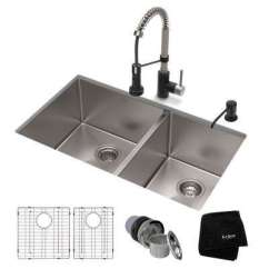 Colored Kitchen Sinks Rustic Sets Multi The Home Depot All In One Undermount Stainless Steel 33 Double Bowl Sink With