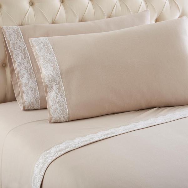 Micro Flannel Queen Taupe Lace Edged Sheet Set-mfnvlqntau - Home Depot