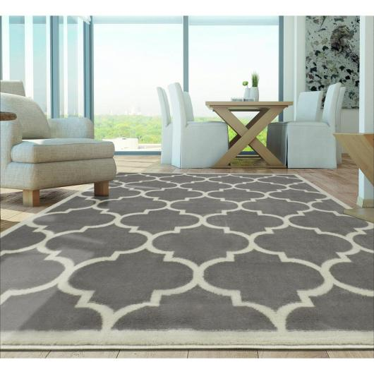 Berrnour Home Contemporary Moroccan Trellis Gray 7 ft. 10 in. x 9 ft. 10 in. Area Rug