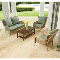 Hampton Bay Lemon Grove 4-Piece Wicker Outdoor Patio ...