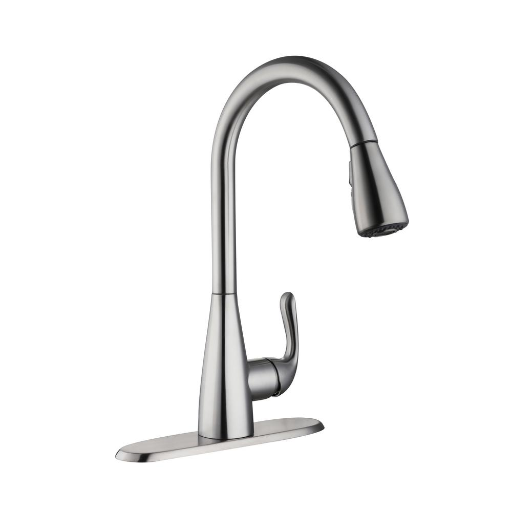 kitchen faucets stainless steel kraus sinks glacier bay carla single handle pull down sprayer faucet in