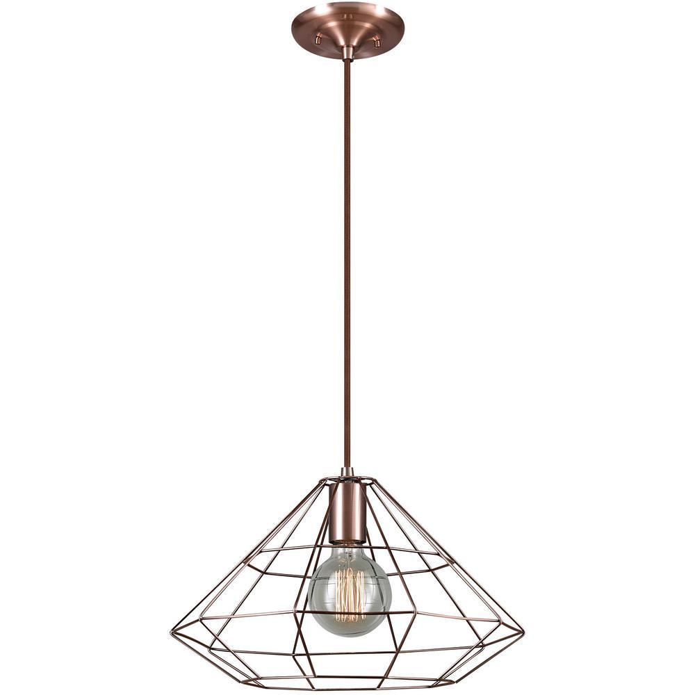 Globe Electric Mahek 1-Light Copper Wire Cage Pendant