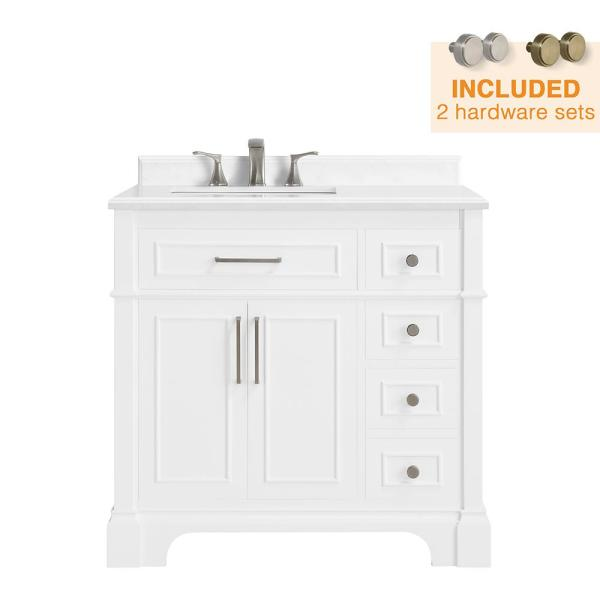 Home Decorators Collection Melpark 36 In W X 22 In D Bath Vanity In White With Cultured Marble Vanity Top In White With White Sink Melpark 36w The Home Depot