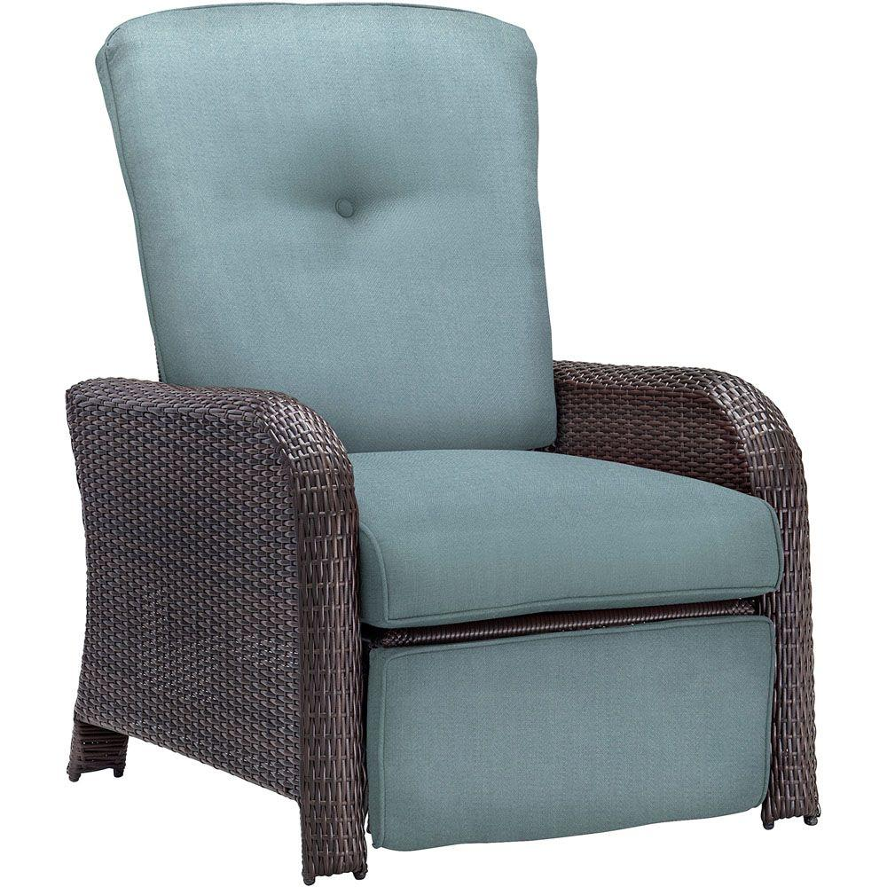 wicker recliner chair desk amazon uk hanover strathmere all weather reclining patio lounge with ocean blue cushion