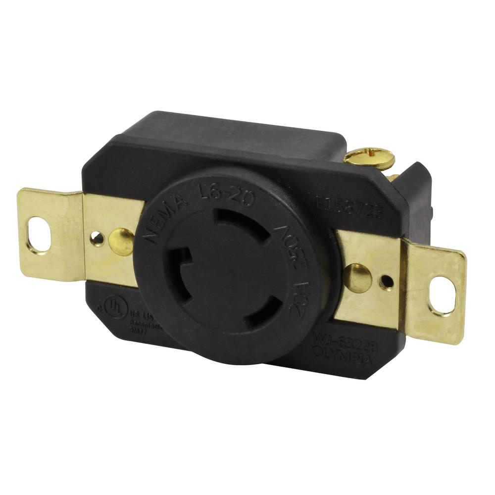 medium resolution of 20 amp 250 volt nema l6 20r flush mounting locking industrial grade receptacle