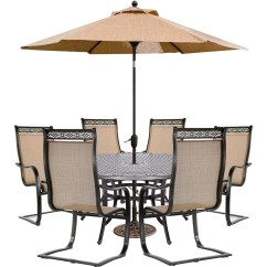 C Spring Patio Chairs Gaiam Ball Chair Hanover Manor 7 Piece Sling Outdoor Dining Set With 6 Cast