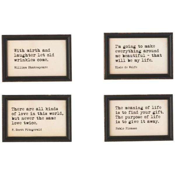 3r Studios 9 In. X 6 Famous Quotes Framed Wall Art