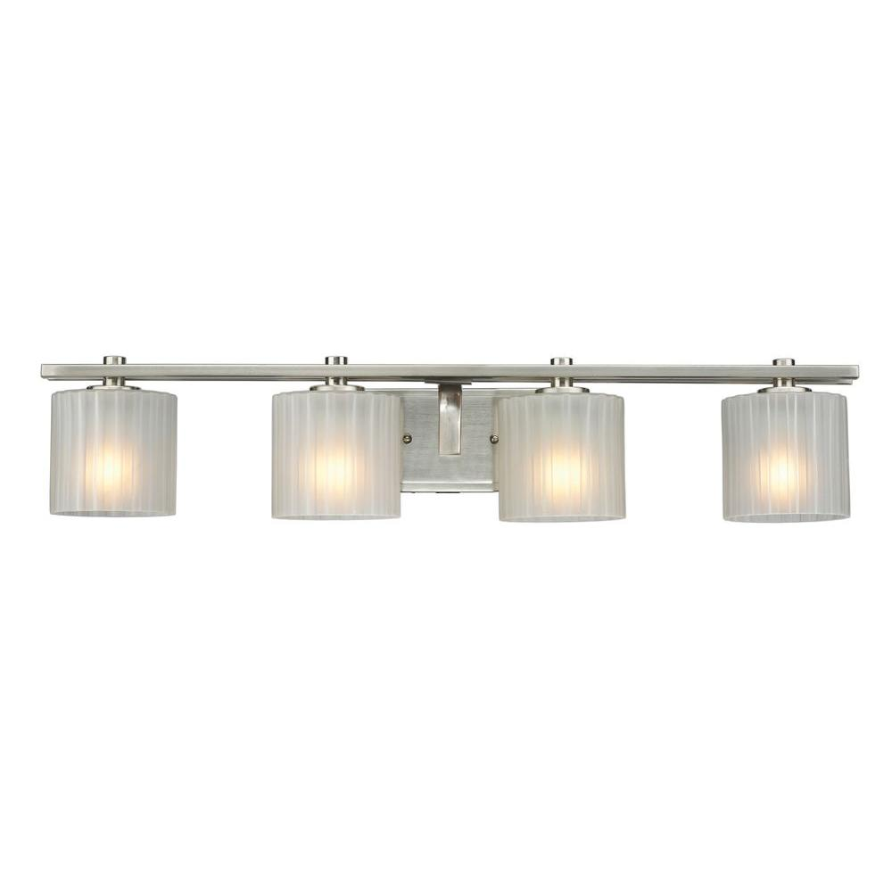hight resolution of hampton bay sheldon 4 light brushed nickel vanity light with frosted glass shades