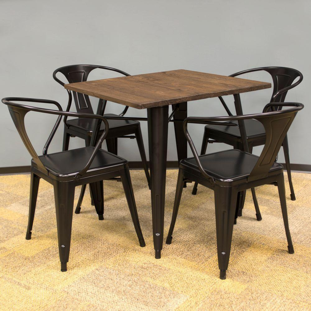 metal kitchen table sets country light fixtures amerihome loft style 32 in x dining set black with dark elm wood tabletop 5 piece