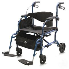 Transport Wheel Chair French Louis Xvi Dining Chairs Medline Combination Rollator Wheelchair In Blue