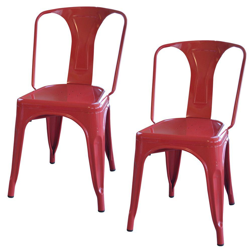 Metal Chairs Amerihome Red Metal Dining Chair Set Of 2 Bs3530rset The Home
