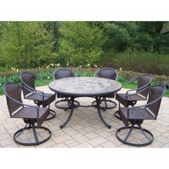 Table With Swivel Chairs Swing Chair Interior Oakland Living Tuscany Stone Art 54 In 7 Piece Patio Wicker Dining