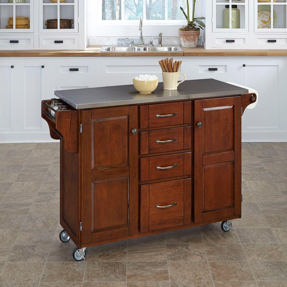 kitchen utility carts corner cabinet solutions islands tables the home depot create a cart cherry with stainless top