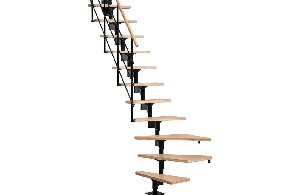 Lyon Black 8 Ft 7 In Modular Staircase Kit 69721 The Home Depot   8 Ft Spiral Staircase   Staircase Ideas   Prefab   Curved Staircase   Staircase Remodel   Wood