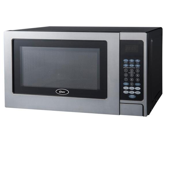 Oster Countertop Microwave Stainless Steel Black .7 Cu. Ft. 700-watt With Push Button