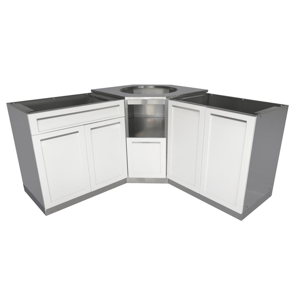 kitchen cabinet set backsplashes for 4 life outdoor stainless steel 101 in x 36 37 kamado corner white 3 piece