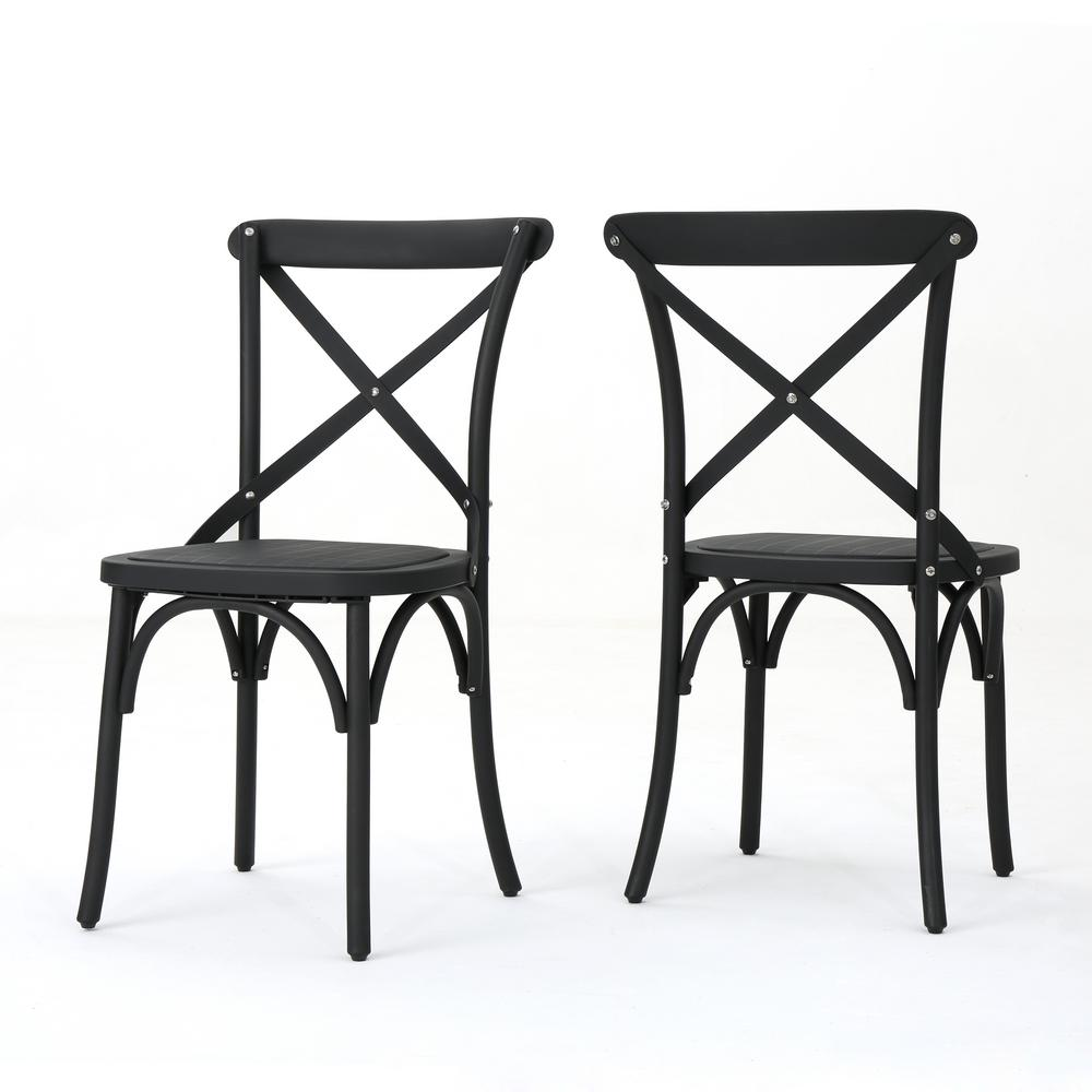 Classic Chair Noble House Sergio Classic Black Farmhouse Plastic Outdoor Dining Chair 2 Pack