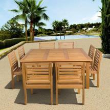Eucalyptus 9-piece Armless Square Patio Dining
