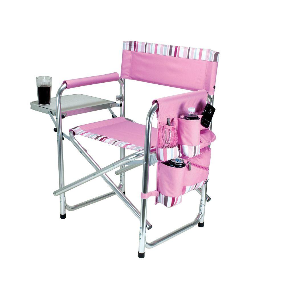 Picnic Time Pink Sports Portable Folding Patio Chair with