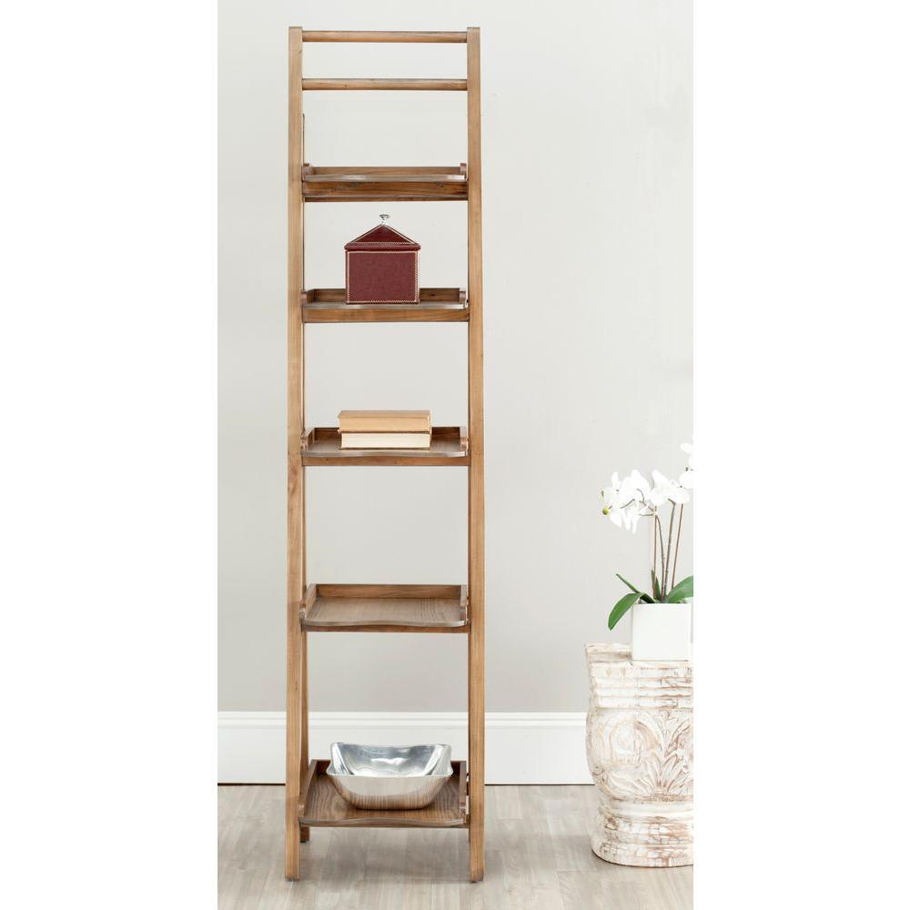 Safavieh Asher Oak Ladder Bookcase Amh6537d The Home Depot