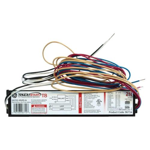 small resolution of ge 120 to 277 volt electronic program start ballast for 2 or 1 lamp