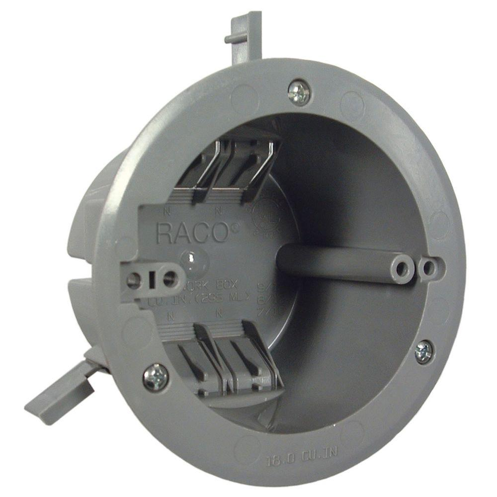 hight resolution of round non metallic vapor barrier ceiling box 2 39 64 in deep 24 pack