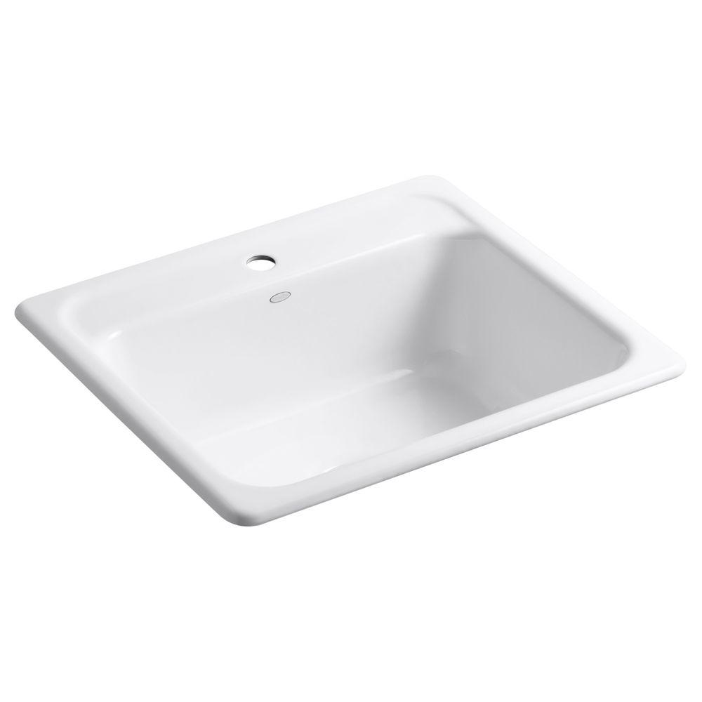 single bowl cast iron kitchen sink the cheapest cabinets kohler mayfield drop in 25 1 hole basin white with rack